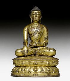 BUDDHA SHAKYAMUNI. Tibet, 15. Jh. H 26,5 cm.