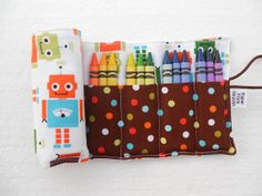 Crayon Roll - Chocolate Fun Bots - holds 24 crayons, boy crayon holder, car crayon, robot, kids party favor, easter basket, crayon wallet