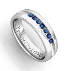 Natural Sapphire Mens Wedding Ring in 14k White Gold Band, 5mm - Fall Sale Extra 20% off, Code: PREHDY20
