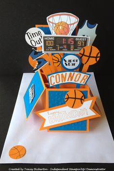 Tracey's Papercraft Creations Basketball themed Card in a Box created for a recent order www.traceybickerton.stampinup.net www.facebook.com/TraceysPapercraftCreations