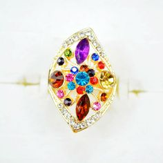 Womens Big Ring With Crystal Multicolor,2014 Fashion Party Rings For Lady Free Shipping $3.77
