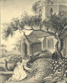 Somerset & Wood Fine Art | Churches in Art | Child Flower Picking in Churchyard - Original early 19th-century graphite drawing £23 #FreeShipping #OriginalArt #ArtForSale #OwnArt