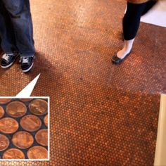 Penny floor....saw this on tv and love it for a bar or game room or even a table top...super ceap. Just make sure all the pennies are heads up!