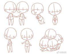 Anime Drawings Sketches, Cartoon Drawings, Cute Drawings, Hand Drawing Reference, Art Reference Poses, Drawing Base, Figure Drawing, Sakura Chibi, Tutorial Draw