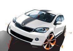 Skoda Citigo Rendering Car Design Sketch, Car Sketch, Automotive Design, Auto Design, Sketch Inspiration, Transportation Design, Tricycle, Sport Cars, Industrial Design