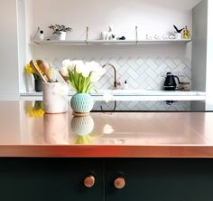 Copper kitchen countertop. Beautifully crafted in Wales.