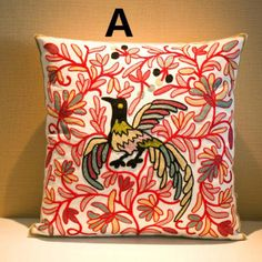 Animal bird embroidered decorative pillows for sofa Chinese style