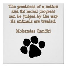 One of my favorites! Gandhi - For Animals Quote
