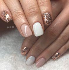 Gold gel nails, rose gold nails, shellac nails, white nails, luv na Perfect Nails, Gorgeous Nails, Pretty Nails, Pretty Toes, Glitter Gel Nails, Rose Gold Nails, Gelish Nails, White Gel Nails, Gold Manicure