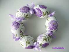 Easter Eggs, Decoupage, Wreaths, Sewing, Purple, Crafts, Diy, Color, Search