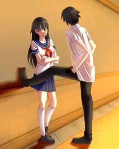 Awwwwww😍😍😍😍😍 it so cute. Sempai-tyan x Yandere-kun Yandere Games, Yandere Girl, Animes Yandere, Yandere Anime, Mirai Nikki, Armin, Ayano X Budo, Yandere Simulator Characters, Ayato