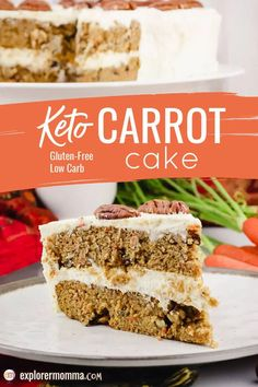 The BEST recipe for spiced Keto Carrot Cake, packed with cinnamon, spices, pecans, and a hint of orange. Gluten-free and made with almond and coconut flours, topped with sugar-free cream cheese frosting, this may be your next favorite low carb dessert! Ketogenic Desserts, Low Carb Desserts, Healthy Desserts, Low Carb Recipes, Dessert Recipes, Ketogenic Diet, Pie Recipes, Healthy Recipes, Carrot Cake