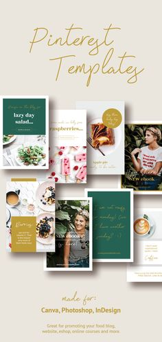 Ellen Wild is a professionally designed Pinterest marketing template of 30 unique pins made for Canva, Photoshop or InDesign. This stunning pack is great for promoting your food blog, website, eshop, online courses and more.  #pinterestmarketing #pinterestpins #pinteresttemplates #canvatemplate #photoshop #ladyboss #coursecreator #ladypreneur #socialmediamarketing #bloggermarketing #foodblog #foodblogger #recipebook #cookingbook #cooking #recipepin #recipedesign Layer Pictures, Food Design, Ux Design, Indesign Templates, Pinterest Marketing, Creative Business, Color Change, Colorful Backgrounds, Photoshop