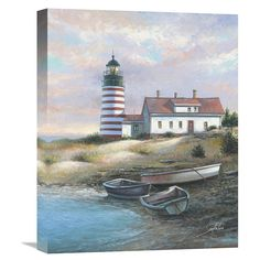 Complete your coastal décor with the scenic beauty of the Global Gallery Quoddy Head Light Wall Art . Boat Painting, Painting Frames, Painting Prints, Art Prints, Lighthouse Pictures, Lighthouse Art, Light Wall Art, Painting Workshop, Fantasy Landscape