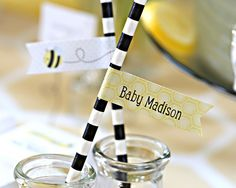 Sweet as Can Bee Personalized Party Straw Flags