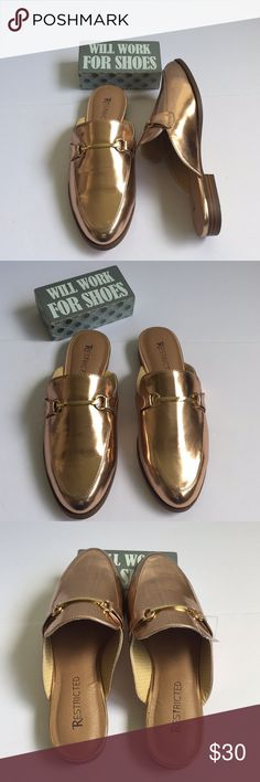 567466d885d3b Restricted Mozart - Rose Gold Mules Backless is all the buzz. This  versatile loafer mule