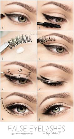 False eyelashes step by step tutorial - Kostüm-Make-up - False Eyelashes Tips, Eyelashes How To Apply, Applying False Eyelashes, How To Apply Eyeliner, Fake Lashes, Copper Eyeshadow, Metallic Eyeliner, Eyeshadow Palette, Sparkle Eyeshadow