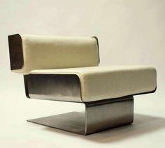 Massimo and Fabio Cotti; Steel Lounge Chair by Studio Cotti for Formanova, 1969.