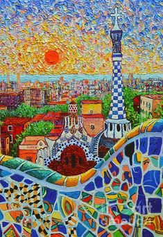 Barcelona Painting - Barcelona Sunrise - Guell Park - Gaudi Tower by Ana Maria Edulescu Gaudi Mosaic, Mosaic Art, Antoni Gaudi, Panel Art, Love Art, Landscape Paintings, Landscape Art, Fine Art America, Canvas Art