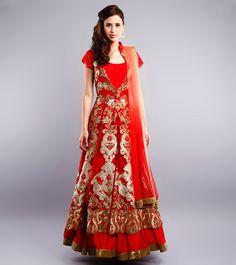 Study By Janak - Red Gota Embroidered Silk Anarkali Lehenga Set CLICK ON THE PHOTO TO SHOP!