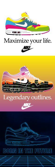 Tre illustrazioni per il concorso Nike Air Max reinvented; bandito da Nike e Size?