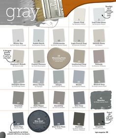 Interior Paint Color and Color Palette Ideas with Pictures - Home Bunch Interior Design Ideas Shades Of Grey Paint, Grey Paint Colors, Interior Paint Colors, Paint Colors For Home, Wall Colors, House Colors, 50 Shades, Foyer Colors, Tan Paint