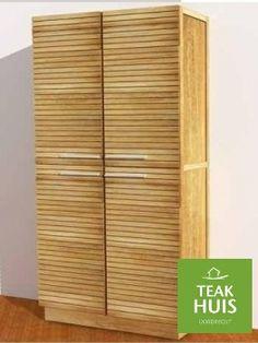 Teakhouten geslotenkast Matin Mooie super afgewerkte moderne teakkast. Met dempers op de deuren en gemaakt van 1e kwaliteit teakhout.
