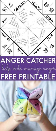 Help kids manage anger with a free printable Anger Catcher | Free printable game to help kids choose a way to calm down. Great parenting tip!