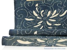 Taisho / Showa era, Japan. Hand spun, hand loomed cotton. Natural indigo dye. Katazome floral design.    Katazome is a traditional Japanese dye technique using a katagami stencil and flour and water resist paste.