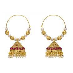 PearlsCart Golden Hoops with Jhumkis #jhumkis #earrings #hoopearrings