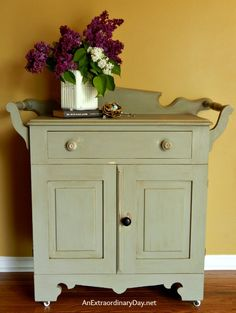 Antique Washstand with a FolkArt Home Decor Chalk Paint Makeover :: AnExtraordinaryDay.net