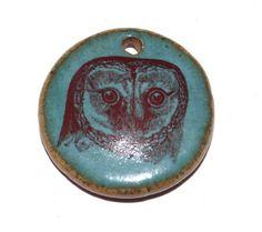 Ceramic Owl Pendant Stoneware Handmade Teal Earthy by Grubbi
