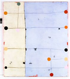 """David Huyck asks """"what if we connected ALL of the dots?"""" The title, 'Mathematical Gems', comes from a found book integrated into the painting… From Bruno Munari's book 'Flights Of Fancy' he writes, """"Let's imagine a land flat as a sheet of paper, in fact let's take a sheet of paper and a black felt-tipped pen with...Read More"""