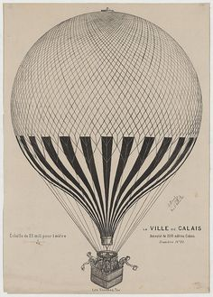"1 print : lithograph. | Print shows the French balloon ""La Ville de Calais"" with several passengers, possibly Jules Duruof, his wife, and two or three others, standing in the basket."