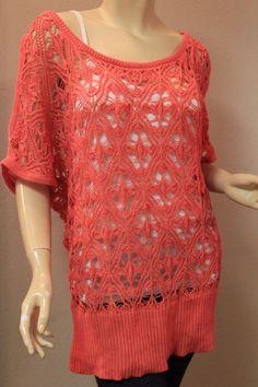 Torrid Knit Sweater Top Coral Peach Orange Short Sleeve 1 1X 14-16 Lace Crochet #Torrid #KnitTop #Casual