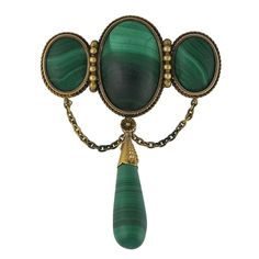 Victorian 14K Gold Malachite Brooch With Drop and Swags, c. 1880. $750