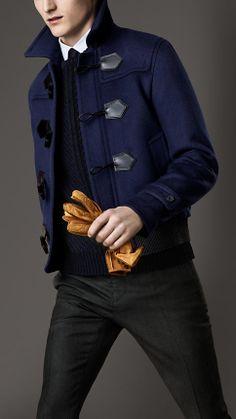 Jaqueta duffle com detalhe em couro | Burberry