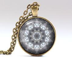 Unique Sacred necklace. Gorgeous Spiritual jewelry in bronze or silver finish. Amazing Mandala pendant with a chain or a leather cord. SIZE: 25 mm (1
