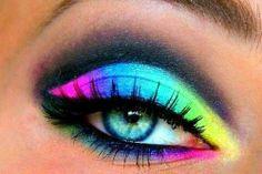 Neon eye make up Makeup Eye Looks, Eye Makeup Art, Crazy Makeup, Cute Makeup, Eyeshadow Looks, Eyeshadow Makeup, Makeup Tips, Beauty Makeup, Hair Makeup