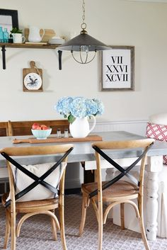 "Dining Area Makeover Reveal - Beneath My Heart. ""For the other side of the table, I chose three Cadence chairs.   I got mine in oak, but they also come in black and cream. I LOVE these chairs!"""
