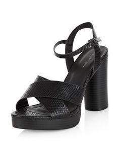 7ebaeee7d86 Black Snakeskin Textured Cross Strap Block Heel Sandals