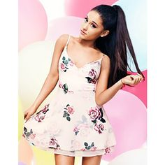 ARIANA GRANDE FOR LIPSY ROSE PRINT LAYERED SKATER DRESS ❤ liked on Polyvore featuring dresses, ariana grande, people, pink skater dress, lipsy, rose print dress, skater dress and double layer dress