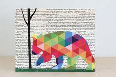 Neon Geometric Bear Collage Woodland Wall by FiddleheadsForFiona