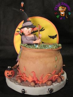The Brewing Hour Witch ~  Halloween Cake  ~ all edible