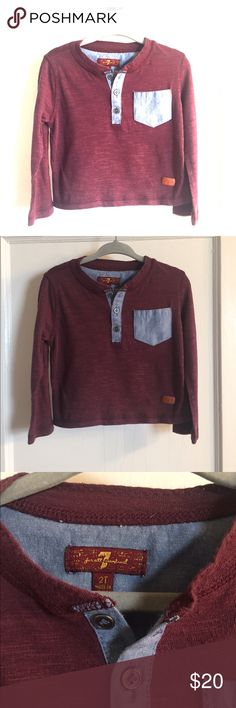 7 For All Mankind long sleeve henley tee Burgundy long sleeve Henley T shirt with light blue pocket and collar detail. Perfect condition- purchased within last 6 months and only worn twice. Size 2T toddler boy, but runs a tad bit small. IMO, would fit 18 months. 7 For All Mankind Shirts & Tops Tees - Long Sleeve