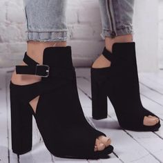 24810142a16b Suede Shoes Womens High Thick Heel Sandals Fish Mouth Open Toe 3 Colors- shoes-
