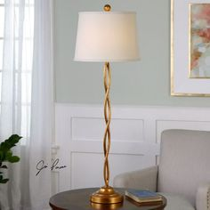 Elica Gold Twist Buffet Lamp