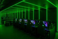 Gaming company Razer has unveiled its first flagship store in London, opening this two-story store in Charing Cross Road designed by local firm YourStudio. Dramatic Background, Led Lighting Solutions, Concrete Texture, Linear Lighting, Architecture Magazines, Light Installation, Experiential, Line Design, Design Agency