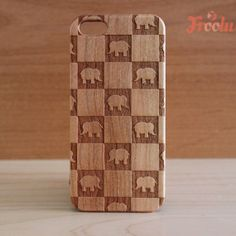 Cute Elephants Laser Engraved Wooden Phone case - Natural Cherry Wood - Fits iPhone 4, 4s and iPhone 5, 5s