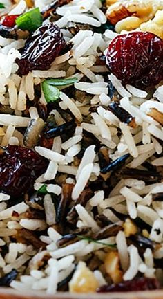Holiday Wild Rice Pilaf with Toasted Walnuts, Dried Cherries, and Sage - Rice Recipes Rice Side Dishes, Food Dishes, Thanksgiving Recipes, Holiday Recipes, Wild Rice Pilaf, Wild Rice Recipes, Rice Pilaf Recipe, Cooking Recipes, Healthy Recipes
